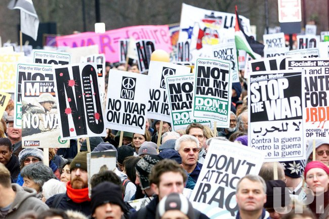 Anti-war protestors hit the streets in London