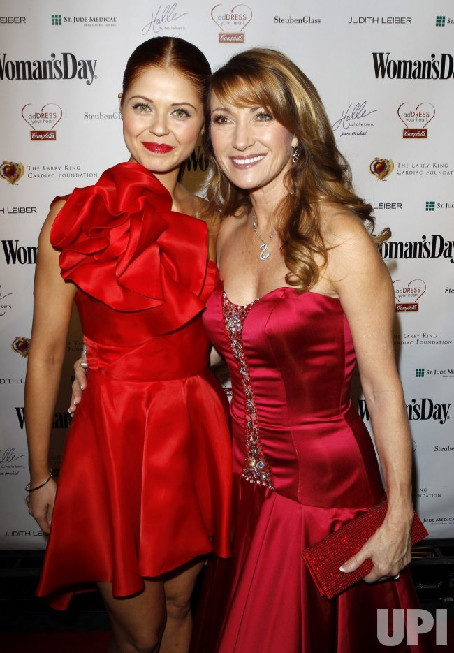 "Anna Trebunskay and Jane Seymour arrive at the seventh annual ""Red Dress Awards"" at Lincoln Center in New York"