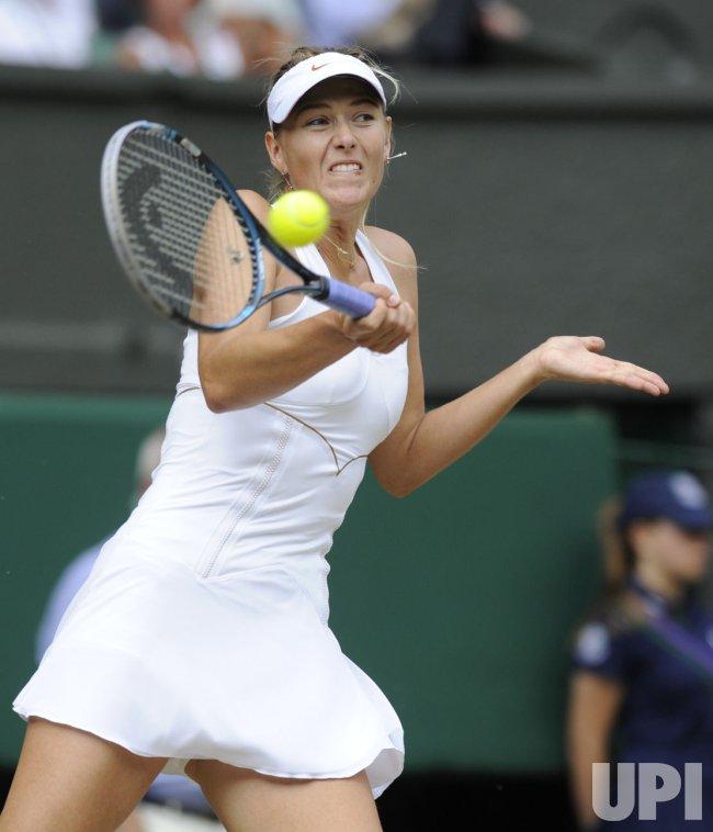 Maria Sharapova returns in the Women's Final at Wimbledon.