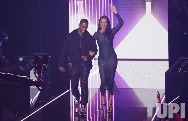 Victor Cruz and Adriana Lima at the MTV Video Music Awards