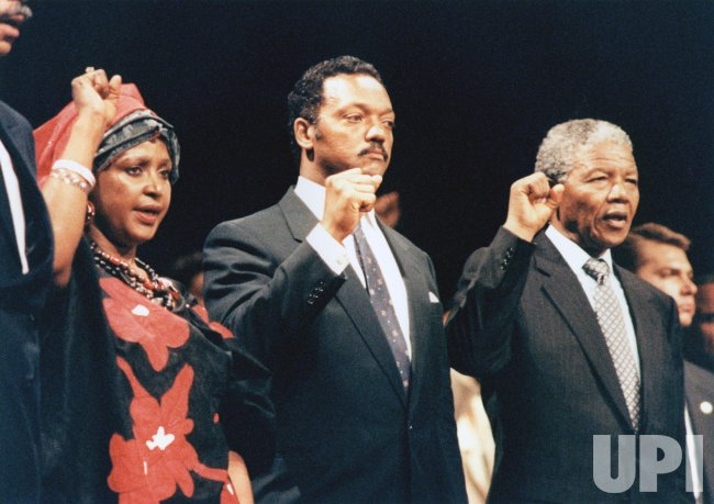 Winnie Mandela, Jesse Jackson, and Nelson Mandela at Rally