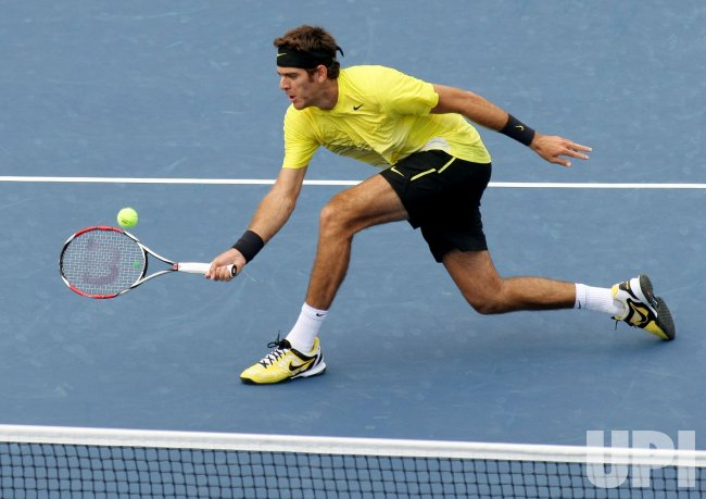 Gilles Simon and Juan Martin Del Potro compete at the U.S. Open in New York