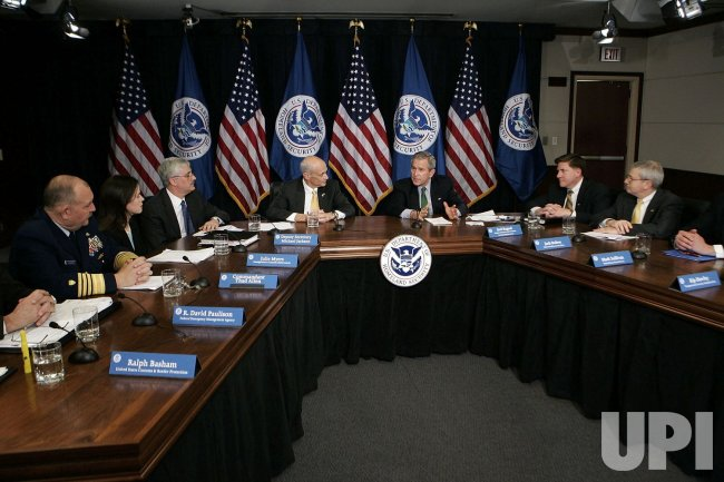 President Bush Attends Briefing At Department Of Homeland Security