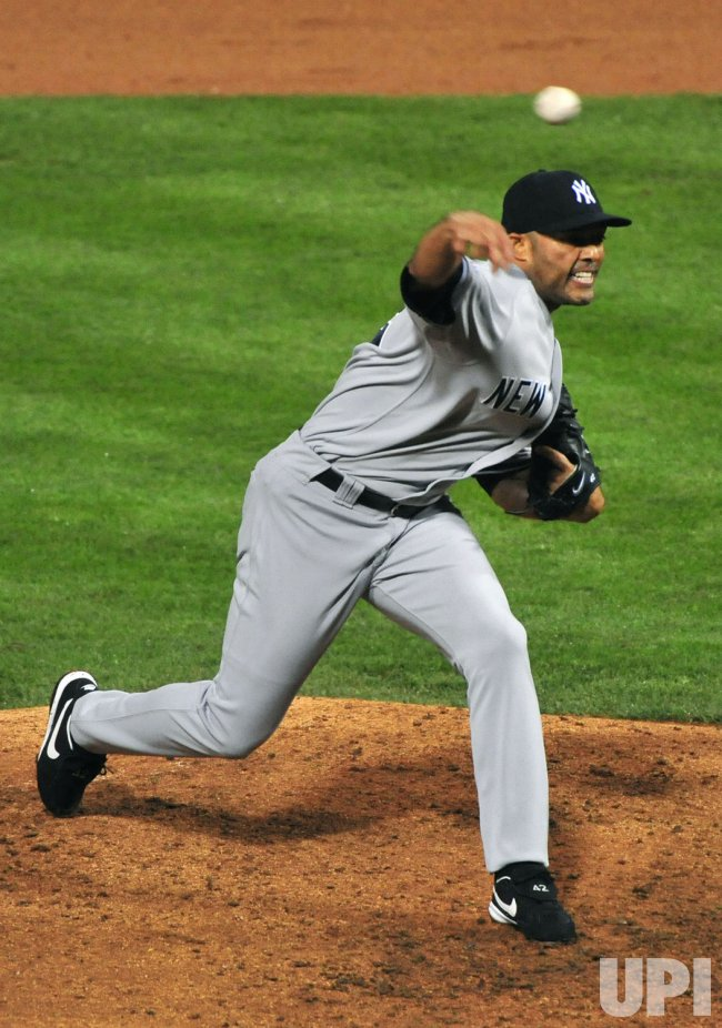 Yankees' pitcher Mariano Rivera pitches against the Phillies during Game 3 of the World Series in Philadelphia