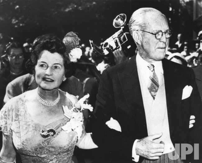 Joseph P. Kennedy and his wife Rose Fitzgerald on the wedding day of John F. Kennedy to Jacqueline Lee Bouvier
