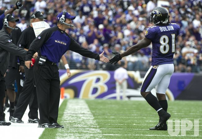 Anquan Boldin is tackled in Baltimore