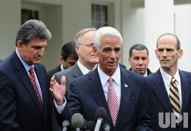 Florida Gov. Crist speaks to the media at the White House in Washington.