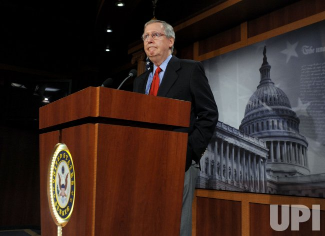 Sen. McConnell talks health care with media in Washington