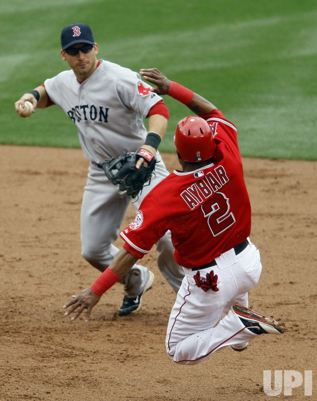 Los Angeles Angels vs Boston Red Sox in Anaheim, California, baseball