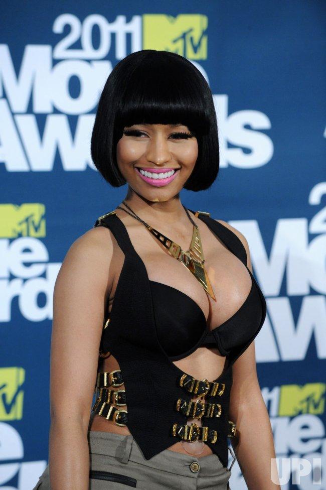 Nicki Minaj arrives at the MTV Movie Awards in Los Angeles