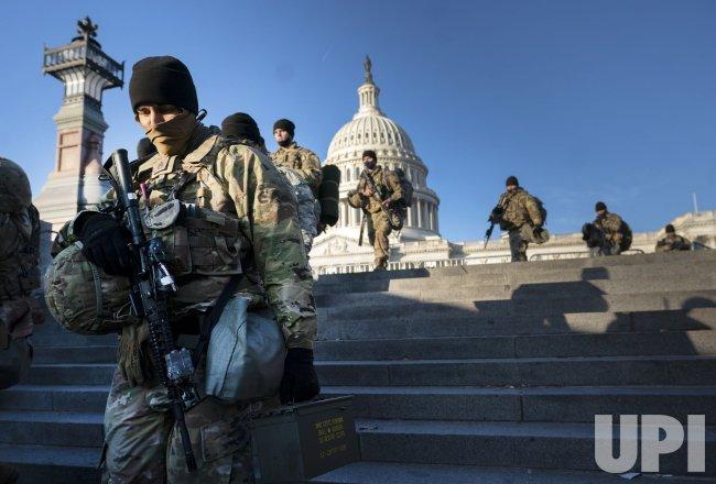 Members of the National Guard patrol the U.S. Capitol