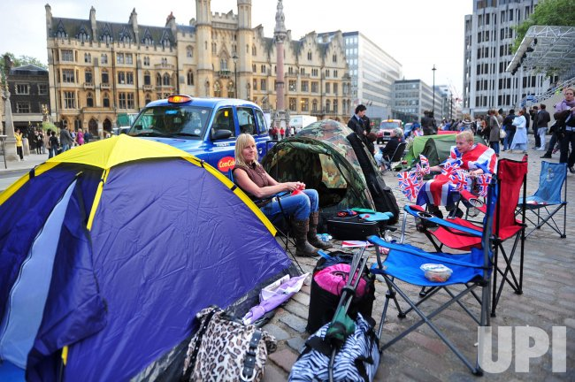 Royal enthusiast set up a tent city in front of Westminster Abby for the Royal Wedding in London