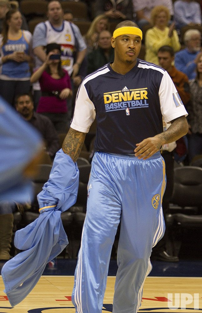 Nuggets Anthony Sheds Warm Ups at the Pepsi Center in Denver