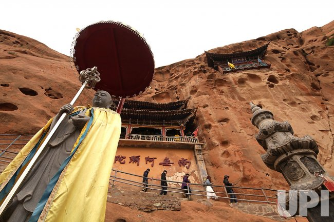 Tourists VisIt the Mati Temple Grottoes in Wangye, China