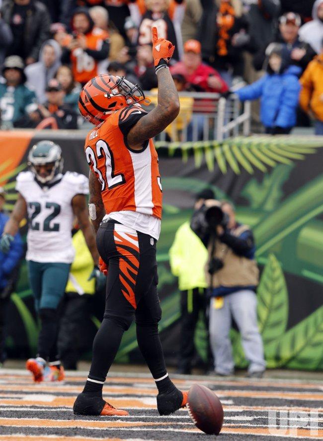 Cincinnati Bengals half back Jeremy Hill celebrates touchdown