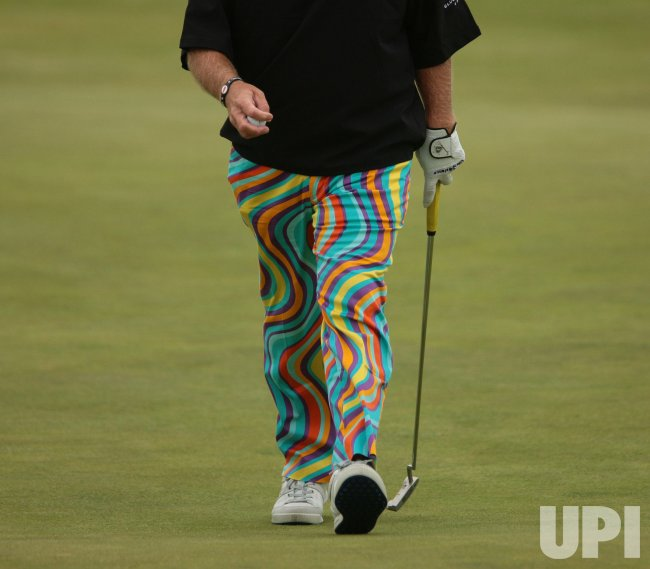 A close up of John Daly's trousers at the Open Golf 2011.