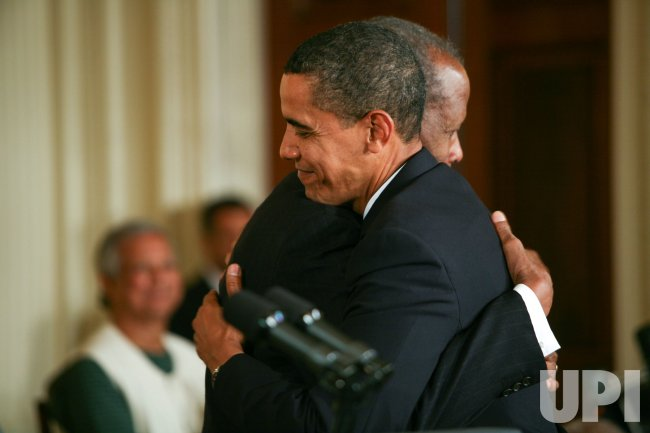 President Obama presents the Presidential Medal of Freedom to Sidney Poitier in Washington