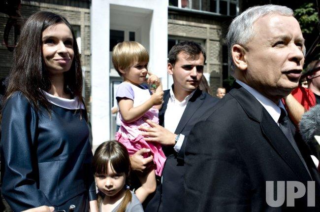Polish Presidential Candidate Kaczynski votes in Warsaw