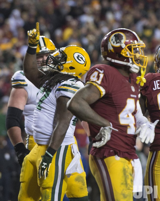 Packers Eddie Lacy celebrates
