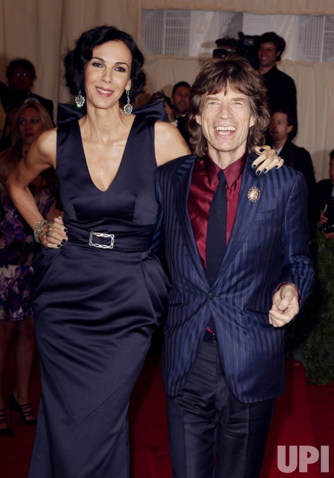 Mick Jagger and L'Wren Scott at the Costume Institute Gala Benefit at the Metropolitan Museum of Modern Art in New York