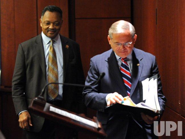 Sen. Robert Menendez (D-NJ) and Rev. Jesse Jackson speak on the POWER Act in Washington