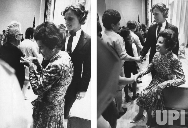 Mrs. Rose Kennedy with grandson Joseph Kennedy III greets people lining up during a campaign to support Ted Kennedy's reelection
