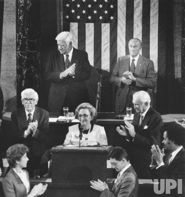 Margaret Truman Daniel addresses a joint session of Congress