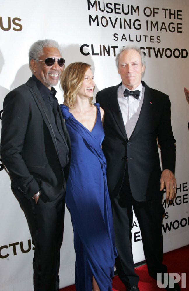"Morgan Freeman, Hilary Swank and Clint Eastwood arrive for the Museum of the Moving Image Salute to Clint Eastwood and Special Advance Screening of ""Invictus"" in New York"