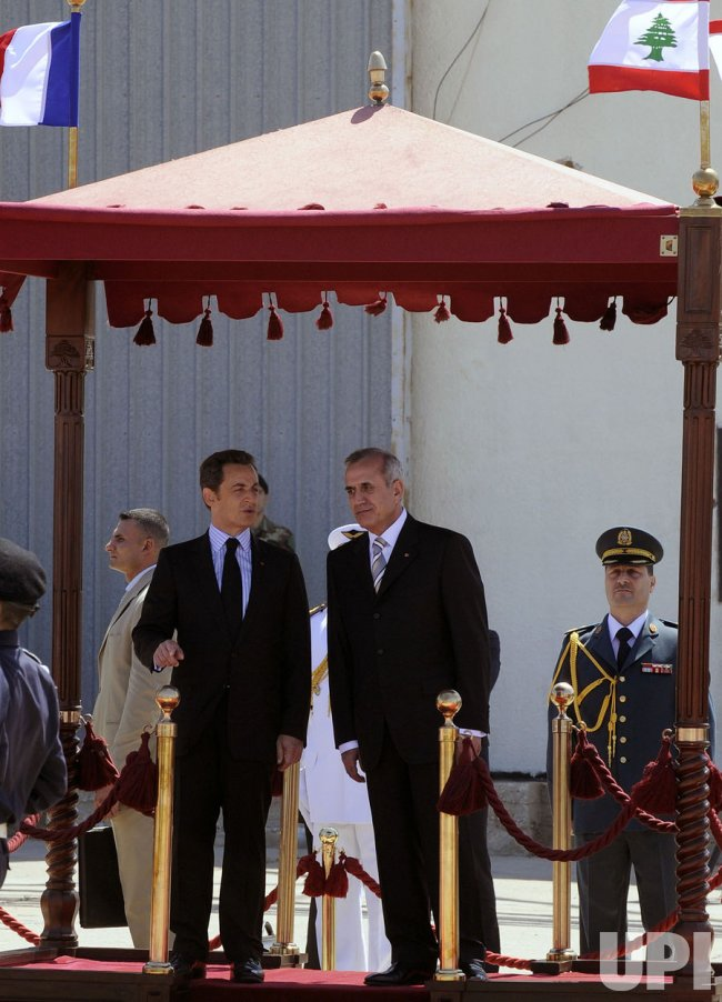 French President Nicolas Sarkozy visits Lebanon after historic presidential election