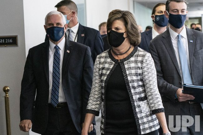 Vice President Mike Pence Arrives at Capitol Hill in Face Mask