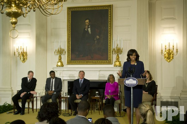 "First Lady Michelle Obama holds a student workshop with the cast of ""42"" in Washington"