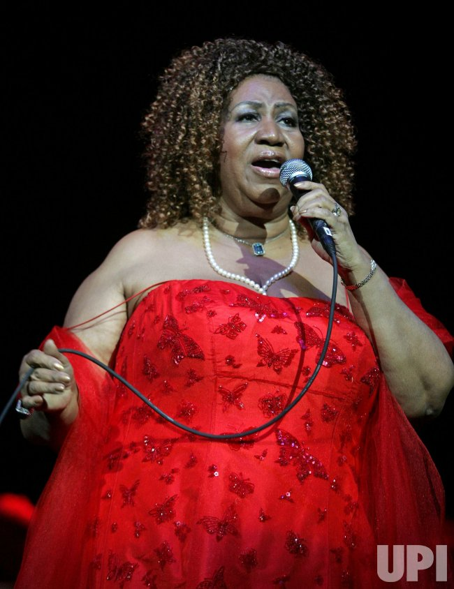 Aretha Franklin performs in concert in Hollywood, Florida