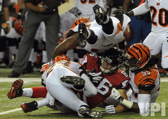 The Atlanta Falcons play the Cincinnati Bengals in a preseason football game in Atlanta