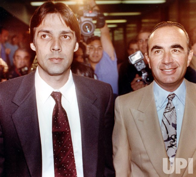 Christian Brando (L), son of actor Marlon Brando arrives in court with his attorney Robert Shapiro