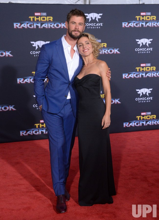 "Chris Hemsworth and Elsa Pataky attend the ""Thor: Ragnarok"" premiere in Los Angeles"