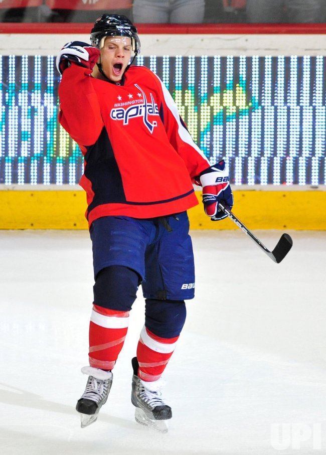 Capitals' John Carlson celebrates in Washington