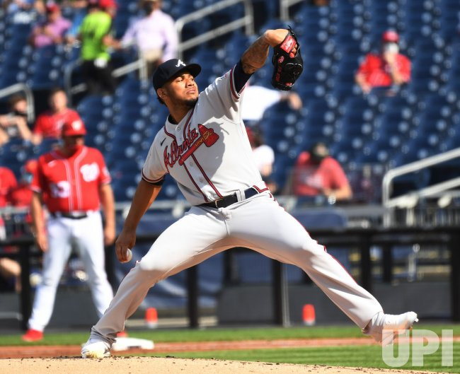 Braves Huascar Ynoa Pitches against the Nationals in Washington