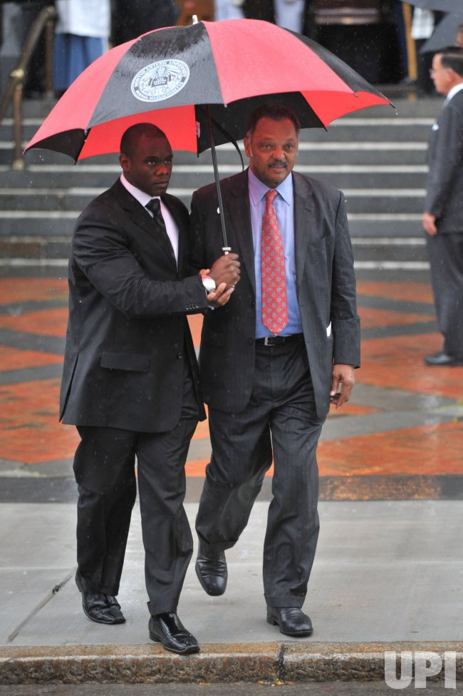 Jesse Jackson leaves the funeral of Sen. Edward Kennedy (D-MA) in Boston