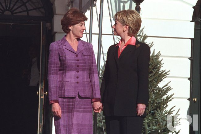 First Lady Hillary Clinton and incoming First Lady Laura Bush