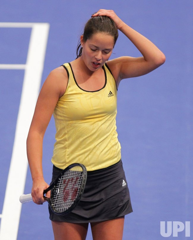Ana Ivanovic reacts at Madison Square Garden in New York