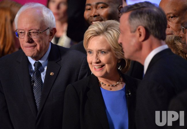 Democratic Presidential Candidates Clinton, Sanders and O'Malley on stage