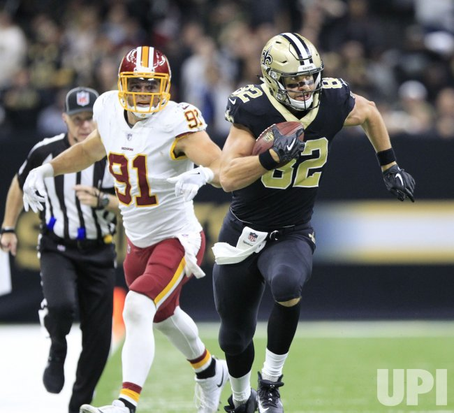 New Orleans Saints tight end Coby Fleener goes 29 yards