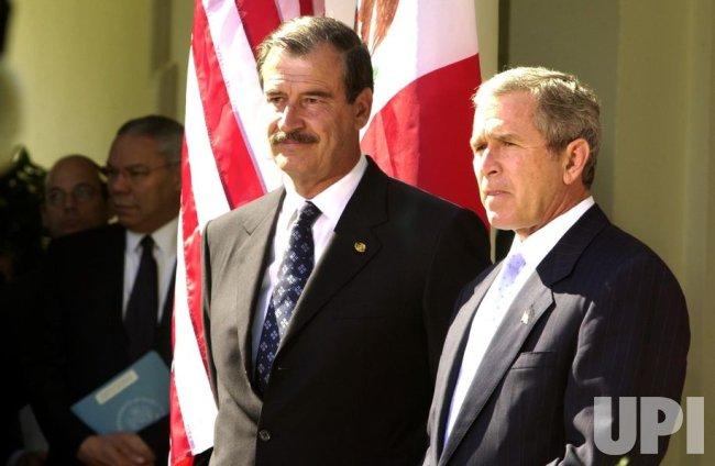 Mexican President Vicente Fox visit President Bush at White House