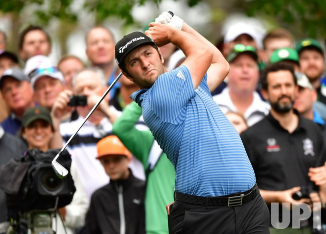 Jon Rahm during a practice round for the Masters