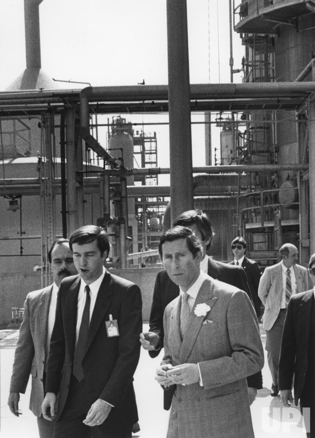 Prince Charles tours Shell Oil Refinery near Houston
