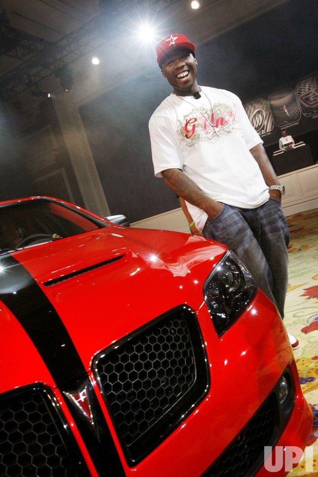 Rapper 50 Cent shows off car in Las Vegas
