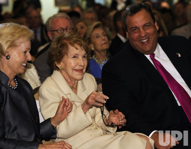 Nancy Reagan, New Jersey Governor Chris Christie, Gayle Wilson at the Ronald Reagan Presidential Library in Simi Valley, California