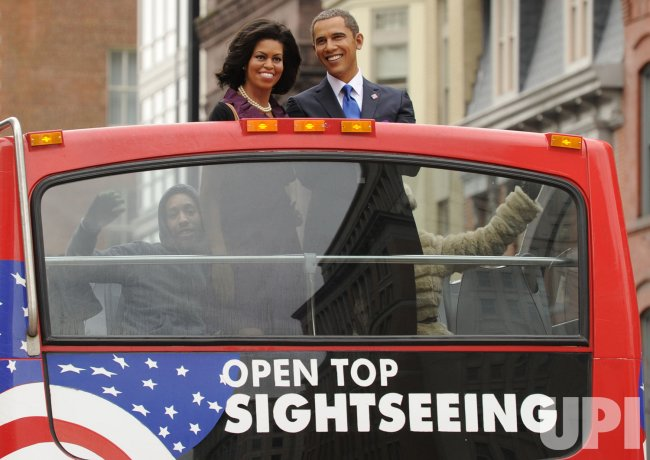 Madame Tussauds promotes pre-inaugural show of President Obama and Michelle Obama in Washington