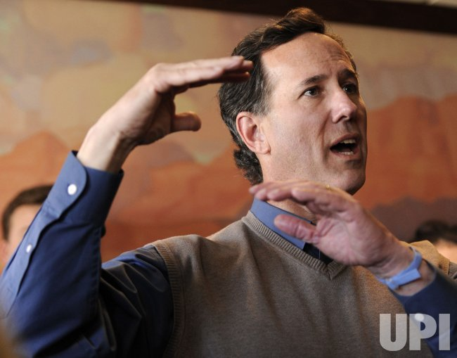GOP presidential candidate Rick Santorum campaigns in Boone, Iowa