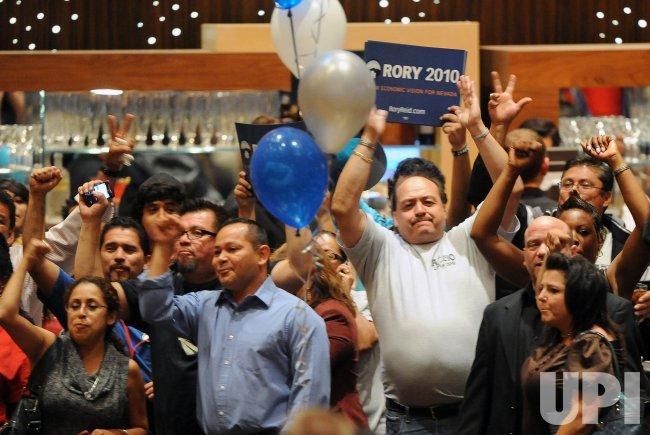 U.S. Senate Majority Leader Harry Reid defeats Sharron Angle to win re-election in Las Vegas, Nevada